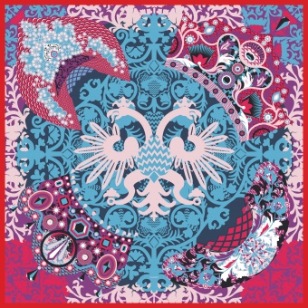 Purple Pink Blue designer silk scarf named Kokoshniki (Pink, purple / Fall 2017)