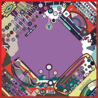 Purple Red designer silk scarf named Typewriters and Writers, Lilac